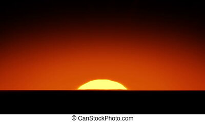Beautiful Sun Rising over Horizon. 3d animation of the...