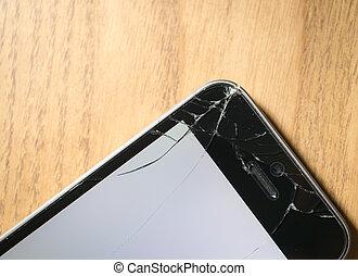 Screen cracked smartphone - Corner cracked smartphone,...
