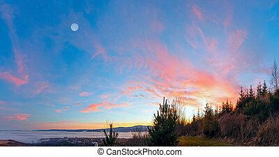 Fantastical sunset scenery over foothills. - Fantastical...