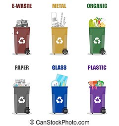 Diffrent waste recycling categories. Garbage bins in...