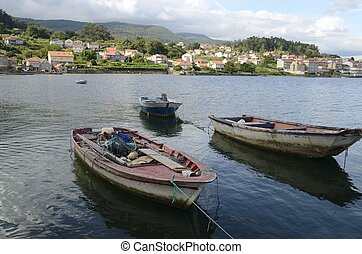 Fishing boats in the Ria of Combarro - Fishing boats in the...