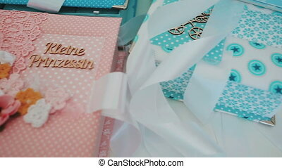 Gift boxes for children. Family heirlooms. Young mothers.