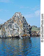 Olkhon island - ocky cliff on the shore , Olkhon island,...