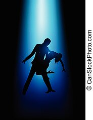 Silhouette illustration of a couple dancing under the blue...