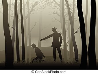 Silhouette illustration of a man aiming a gun to the kneeling man's head