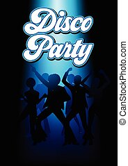Disco Dancing People - Silhouette Illustration of young...