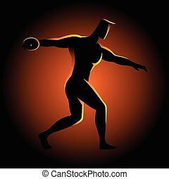 Silhouette illustration of a discus throw athlete