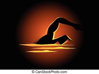 Silhouette illustration of a man figure swimming