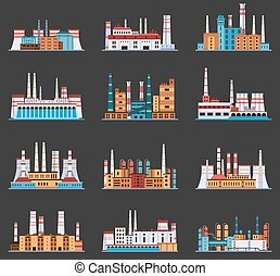 Industrial plant and factory with chimney set of icons in...