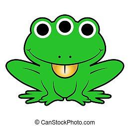 Cute green cartoon alien frog