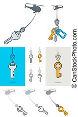 Collection of helicopters lifting a key on a hook -...