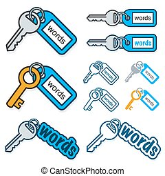 Set of keys with the text - Words - on their tags conceptual...