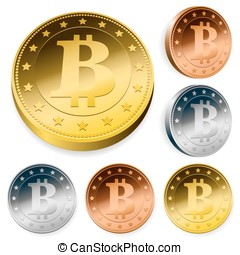 Bitcoin money set in gold, silver and bronze - Bitcoin money...