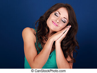 Beautiful makeup tired young woman want to sleep and she...