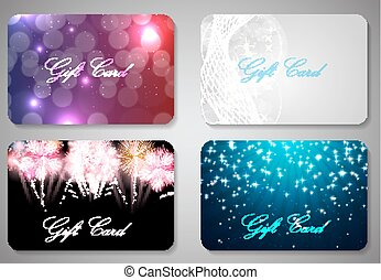 Beautiful Christmas and New Year Gift Card Template Set...