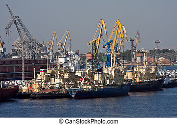 Sea trading port - View of sea port with ships and cranes