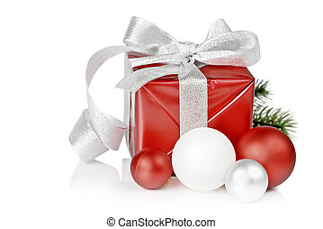 Christmas box - Red gift box with silver brocade ribbon and...