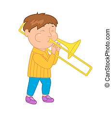 Cartoon musician kid. Vector illustration for children...