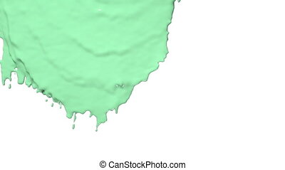 green paint flowing down in slow motion. Colored paint -...