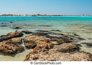 Crete, Greece: beach in Elafonisi or Elafonissi lagoon -...