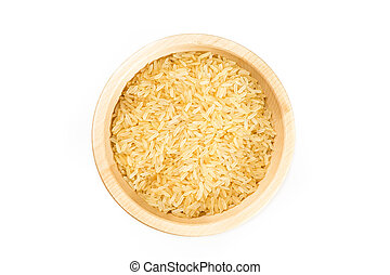 Organic rice on white background. - Black rice in a wooden...