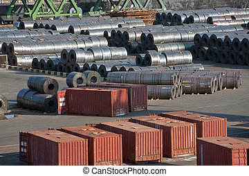 Sea trading port - Containers and metal at sea trading port