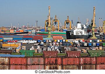 mar, comercio, puerto
