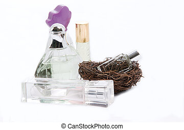 fragrance bottle in a bird cage