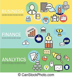 Business, Finance and Analytics Banners with Line Icons. Vector Illustration