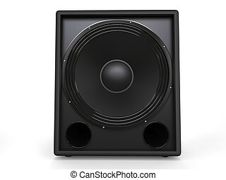 Small subwoofer speaker - front closeup shot