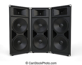 Three big concert horn loudspeakers