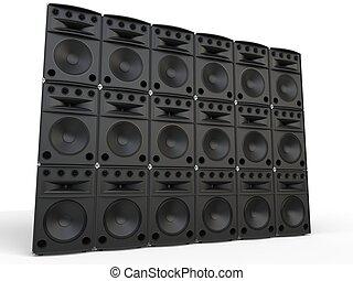 Wall of full range loudspeakers - studio shot
