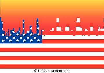 Stars And Stripes Cityscape - A cityscape in the colors of...