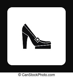 Womens shoes on platform icon, simple style - Womens shoes...