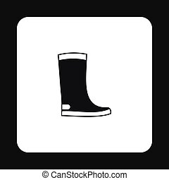 Rubber boots icon, simple style - Rubber boots icon in...