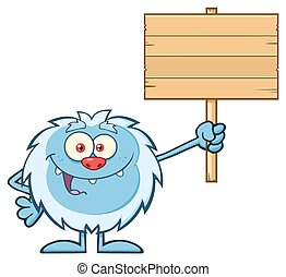 Yeti Holding Up A Wooden Blank Sign