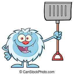 Yeti Holding Up A Winter Shovel