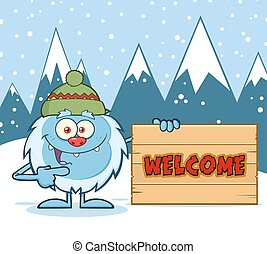 Cute Yeti With Winter Background
