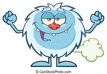 Little Yeti Character Farting - Smiling Little Yeti Cartoon...