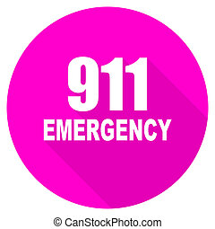 number emergency 911 flat pink icon