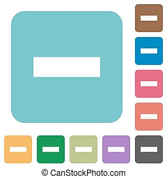 Flat remove icons on rounded square color backgrounds.