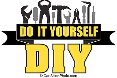 DIY do it yourself banner with silhouettes of workers tools:...
