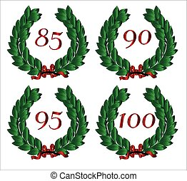 Number Isolated Wreaths - 4 Numbered wreaths with a number...