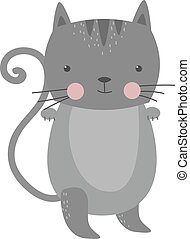 Cute furry cat animal vector.