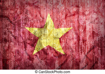 Grunge style of Vietnam flag on a brick wall for background