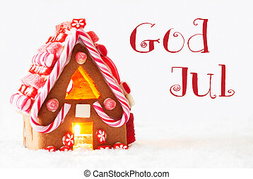 Gingerbread House, White Background, God Jul Means Merry...
