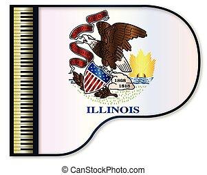 Grand Piano Illinois Flag - The Illinois state flag set into...