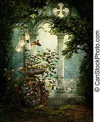 Sweet Serenity Birdbath, 3d CG