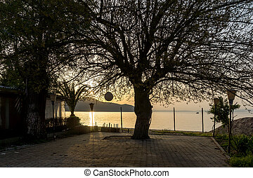 Sunset in Thassos town, Greece - Amazing sunset seascape in...