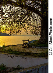 Sunset in Thassos town, Greece - Sunset on embankment and...